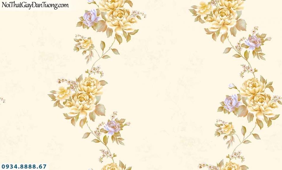 Lily | Giấy dán tường Lily 36011-3 | giấy dán tường bông hoa màu vàng, dây leo uốn lượn những chùm hoa màu vàng đẹp