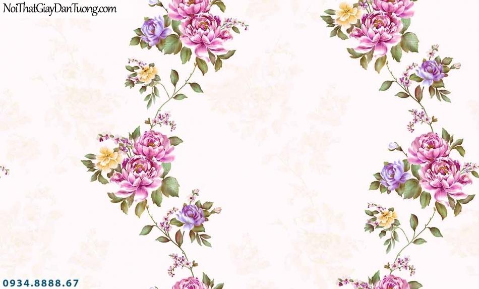 Lily | Giấy dán tường Lily 36011-4 | giấy dán tường bông hoa dây leo màu hồng đẹp