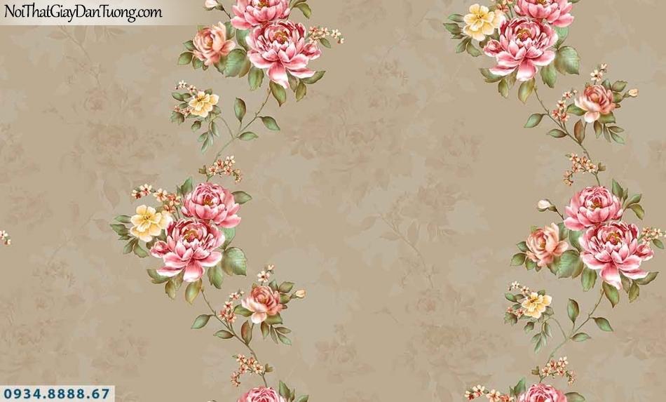 Lily | Giấy dán tường Lily 36011-5 | giấy dán tường dãy hoa màu nhiều màu, hoa dây leo nền màu vàng sẫm