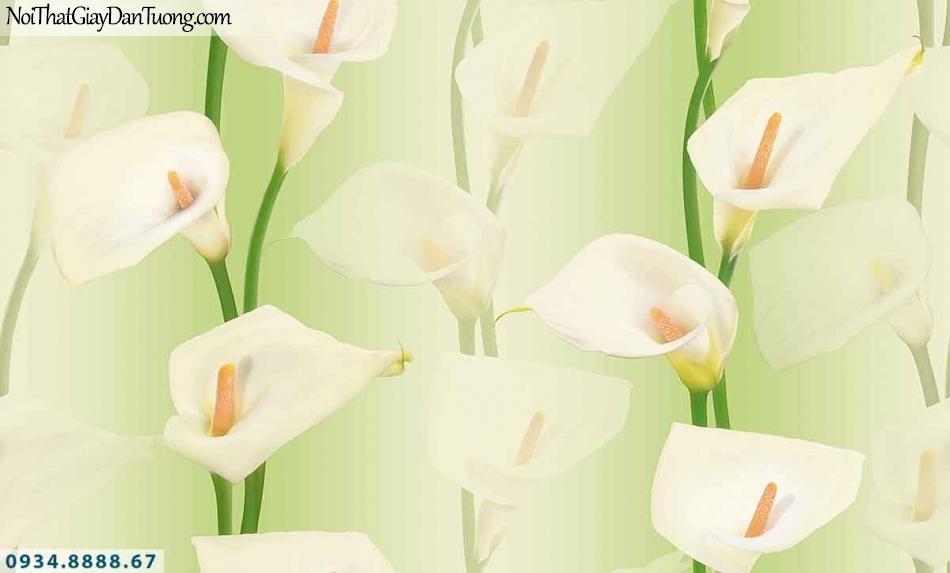 Lily | Giấy dán tường Lily 36013-1 | giấy dán tường hoa loa kèn, những canh hoa rơi đều chạy dọc xuống theo tường, hoa 3D đẹp, màu xanh trắng