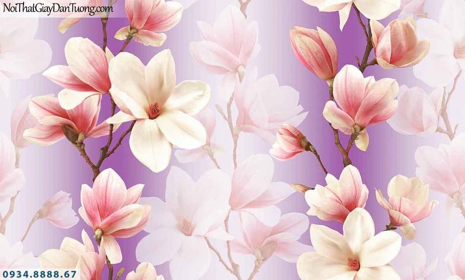 Lily | Giấy dán tường Lily 36014-1 | giấy dán tường hoa mộc lan màu tím, màu hồng tím, hoa loa kèn, hoa kết dây 3D đẹp