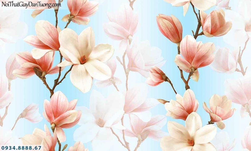 Lily | Giấy dán tường Lily 36014-3 | giấy dán tường hoa mộc lan 3D màu hồng, cành hoa mộc lan chạy dọc thẳng xuống theo tường