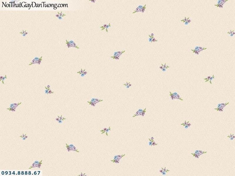 Martina | giấy dán tường Martina 19204 | giấy dán tường hoa nhỏ màu vàng kem, những bông hoa nhỏ rơi đều trên tường, hoa bay trong gió