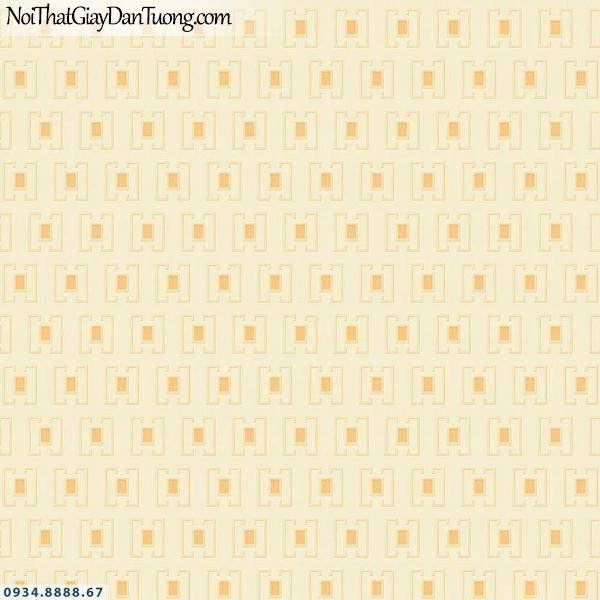 Martina | giấy dán tường Martina 40110 | giấy dán tường họa tiết ô vuông màu vàng, giấy dán tường lập thể