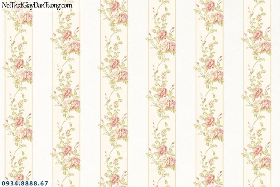 Martina | giấy dán tường Martina MGM1001 | giấy dán tường sọc bông hoa màu hồng, hoa và sọc màu vàng nhạt, sọc bản lớn, sọc to