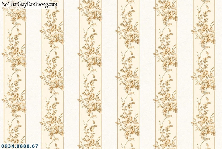 Martina | giấy dán tường Martina MGM1002 | giấy dán tường sọc bông màu vàng, giấy dán tường sọc lớn, dây leo dạng sọc