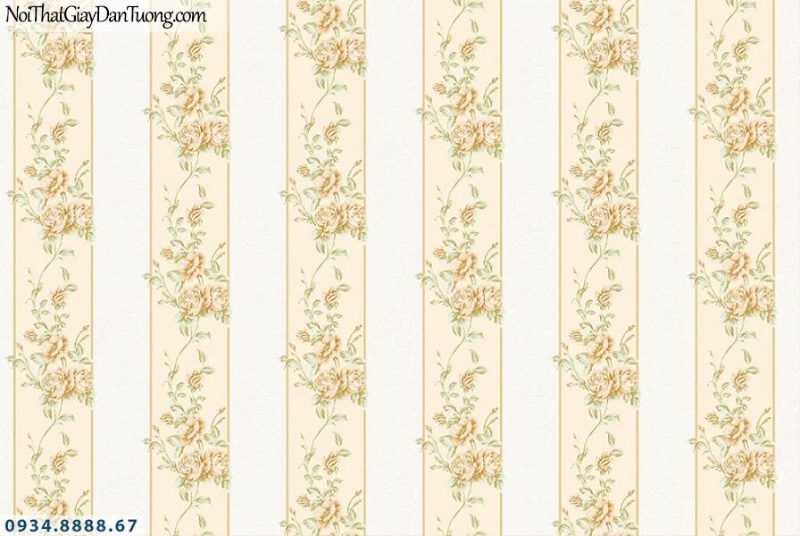 Martina | giấy dán tường Martina MGM1005 | giấy dán tường sọc bông hoa màu vàng, kẻ sọc to, sọc lớn, dạng dây leo