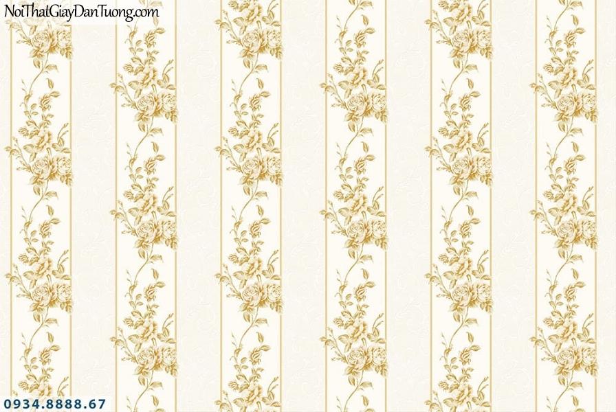 Martina | giấy dán tường Martina MGM1006 | giấy dán tường kẻ sọc bông lớn, sọc bông hoa to, sọc dạng dây leo màu vàng kem
