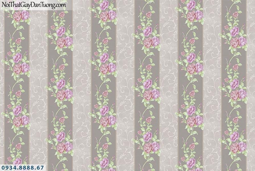 Martina | giấy dán tường Martina MGM1007 | giấy dán tường sọc bông hoa màu tím, nền màu xám đen, xám nâu, kẻ sọc bản to hoa dạng dây leo