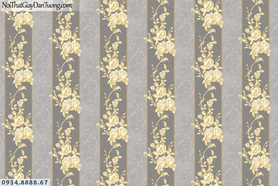 Martina | giấy dán tường Martina MGM1008 | giấy dán tường kẻ sọc màu vàng nền màu xám tối, giấy sọc to, sọc lớn