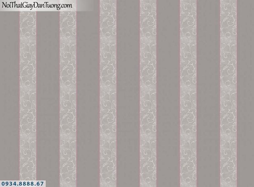 Martina | giấy dán tường Martina MGM1017 | giấy dán tường kẻ sọc màu xám, màu xám đỏ, giấy sọc bản to, bản lớn, sọc thẳng đứng màu nâu