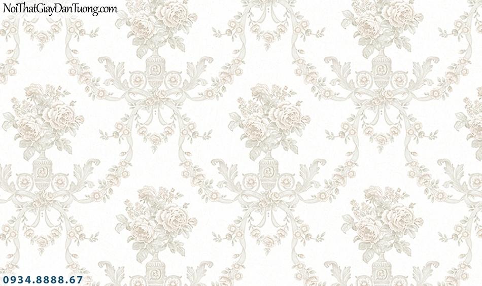 FLORIA | Giấy dán tường Floria 7701-1 | giấy dán tường hoa văn họa tiết cổ điển Châu Âu mà trắng, trắng xám, sáng trọng
