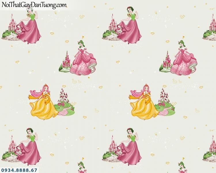 Martina | giấy dán tường Martina 1001-2 | giấy dán tường trẻ em hình công chúa Disney Princess, công chúa màu xanh nền màu xanh