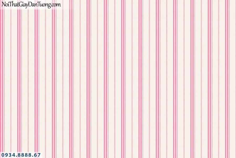 Martina | giấy dán tường Martina 1002-2 | giấy dán tường trẻ em kẻ sọc màu hồng, sọc thẳng đứng nhỏ, kết hợp với giấy dán tường hình công chúa