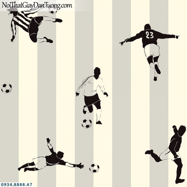 Martina | giấy dán tường Martina 1008-2 | giấy dán tường trẻ em hình cầu thủ bóng đá, giấy sọc màu vàng kem, màu xám