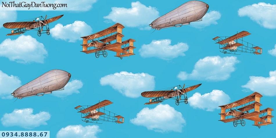 Martina | giấy dán tường Martina 2001-1 | giấy dán tường trẻ em, hình bầu trời xanh, máy bay và khinh khí cầu bay trên bầu trời, giấy dán trần đẹp