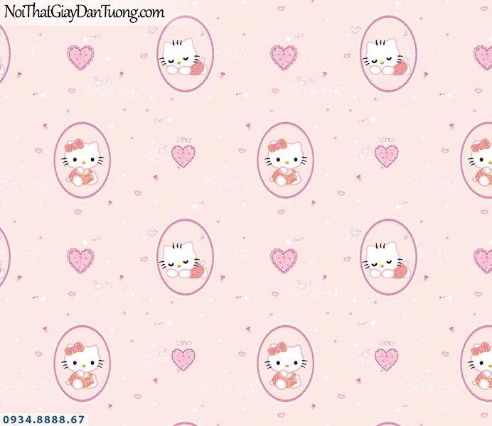 Martina | giấy dán tường Martina 2017-1 | giấy dán tường trẻ em hình hello kitty màu hồng, phòng bé đẹp Tphcm