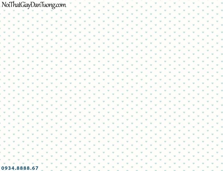 Martina | giấy dán tường Martina 2019-3 | giấy dán tường trẻ em, họa tiết hình trái tim nhỏ màu xanh dương