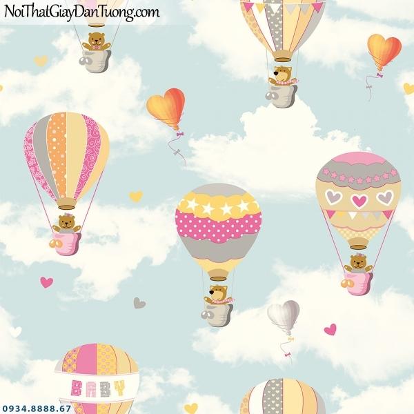 Martina | giấy dán tường Martina 2020-2 | giấy dán tường trẻ em, hình khinh khí cầu bay trên bầu trời, giấy dán trần nhà đẹp