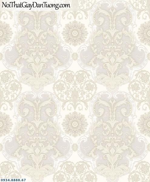 Martina | giấy dán tường Martina MGM3001 | giấy dán tường hoa văn cổ điển Châu Âu, hoa văn cổ điển màu kem, trắng kem