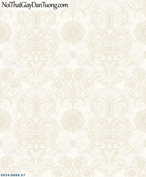 Martina | giấy dán tường Martina MGM3002 | giấy dán tường hoa văn họa tiết phong cách cổ điển Châu Âu, màu vàng kem đẹp, ấn tượng