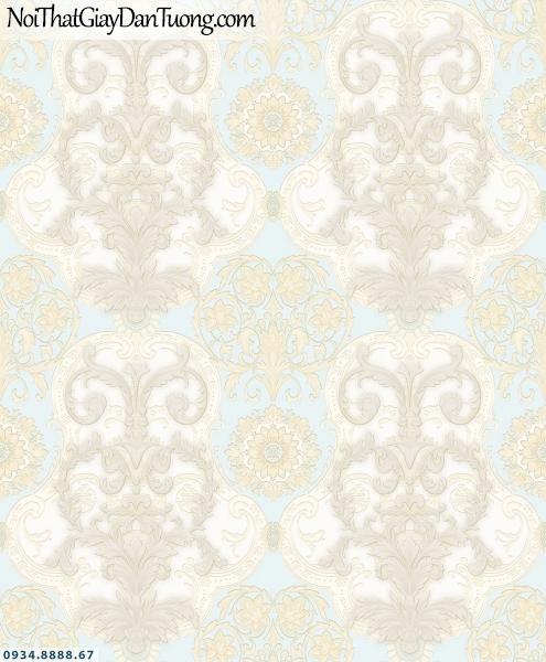 Martina | giấy dán tường Martina MGM3003 | giấy dán tường phong cách Châu Âu cổ điển màu kem, màu xanh dương, đẹp ấn tượng