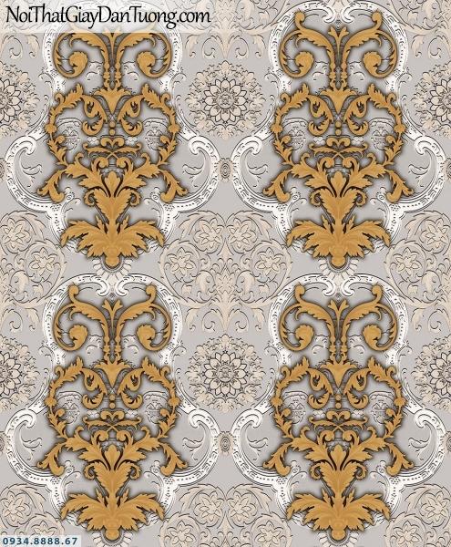 Martina | giấy dán tường Martina MGM3005 | giấy dán tường hoa văn cổ điển Châu Âu đẹp, ấn tượng, họa tiết màu vàng đồng, nền màu xám 3D