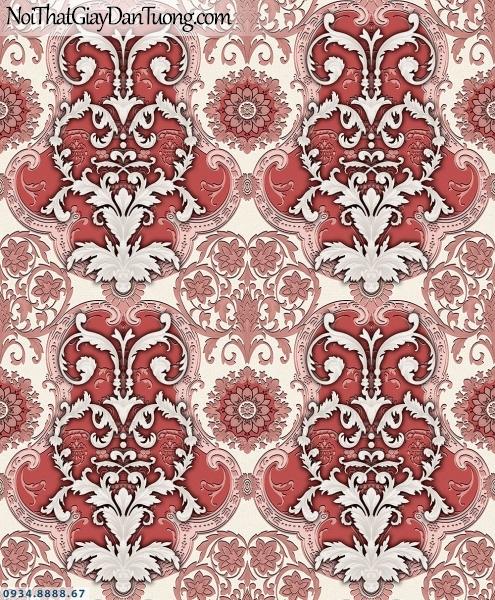 Martina | giấy dán tường Martina MGM3006 | giấy dán tường màu đỏ, hoa văn họa tiết Châu Âu cổ điển ấn tượng đẹp