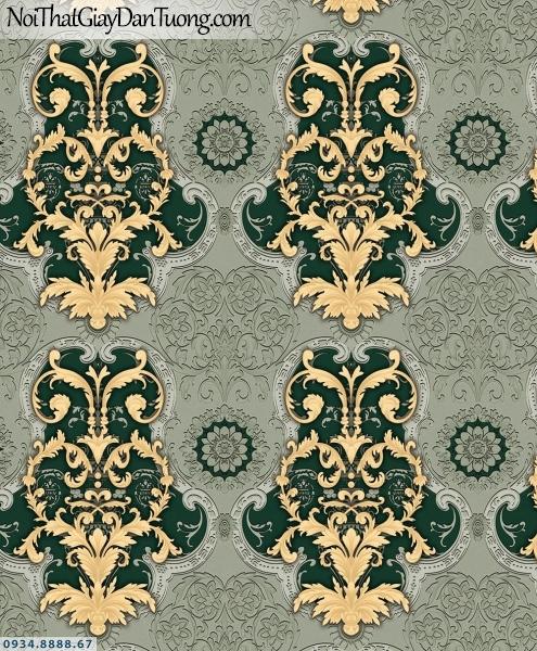 Martina | giấy dán tường Martina MGM3007 | giấy dán tường màu xanh ngọc, họa tiết Châu Âu cổ điển, nền màu xám, hoa văn màu vàng 3D đẹp