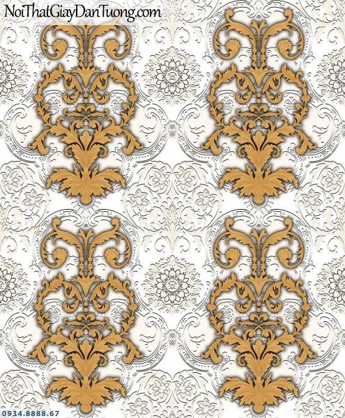Martina | giấy dán tường Martina MGM3008 | giấy dán tường màu xám, hoa văn họa tiết màu vàng đồng, họa tiết phong cách cổ điển Châu Âu 3D