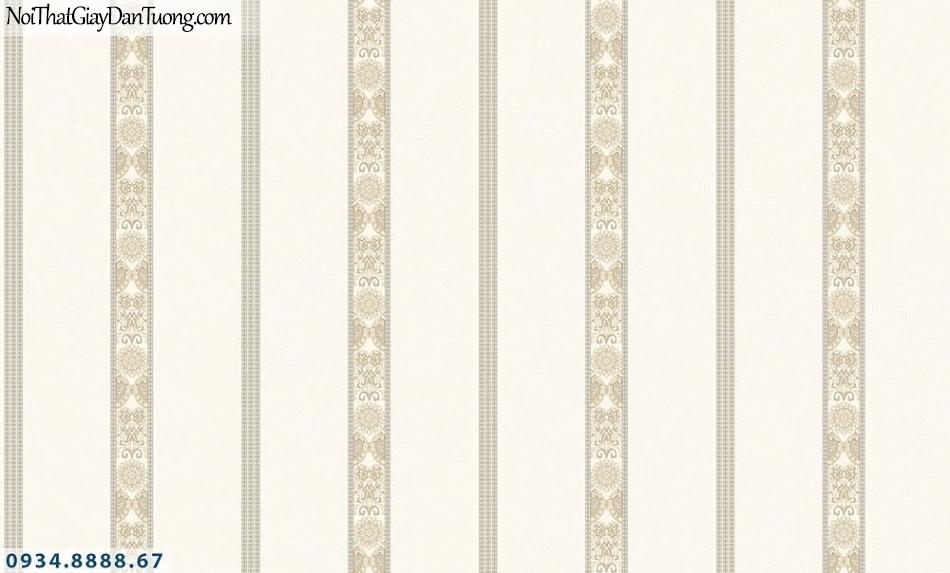 Martina | giấy dán tường Martina MGM3011 | giấy dán tường kẻ sọc màu kem, màu vàng kem, sọc to nhỏ thẳng đứng