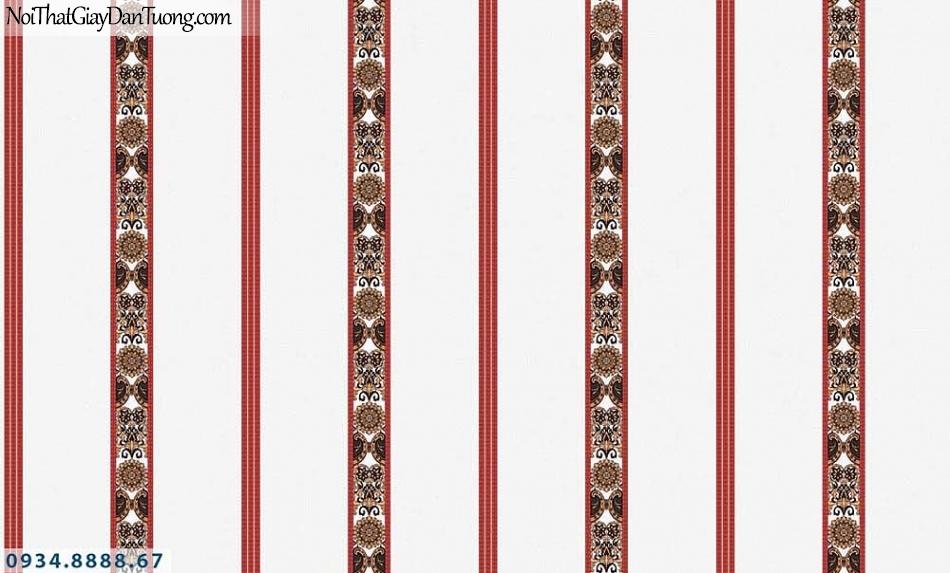 Martina | giấy dán tường Martina MGM3016 | giấy dán tường kẻ sọc màu đỏ, sọc đỏ nền kem