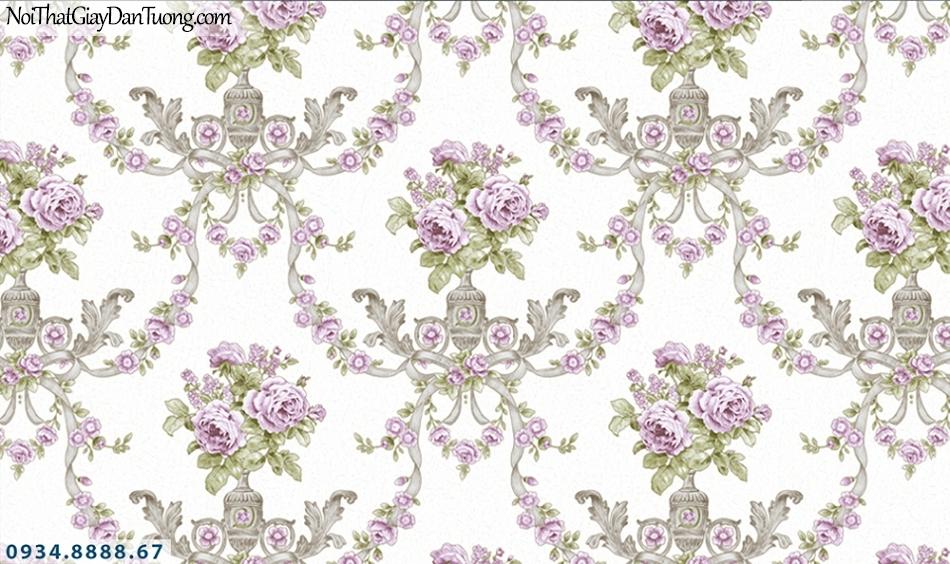 FLORIA | Giấy dán tường Floria 7701-2 | giấy dán tường cổ điển màu tím, hoa văn cổ điển phong cách Châu Âu