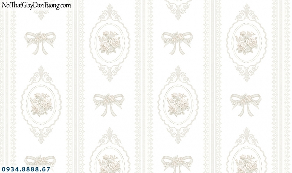 FLORIA | Giấy dán tường Floria 7702-1 | Giấy dán tường hoa văn cổ điển màu trắng, trắng xám, phong cách Châu Âu