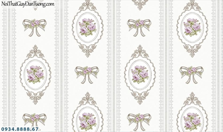 FLORIA | Giấy dán tường Floria 7702-2 | giấy dán tường cổ điển màu trắng, màu tím, phong cách Châu Âu
