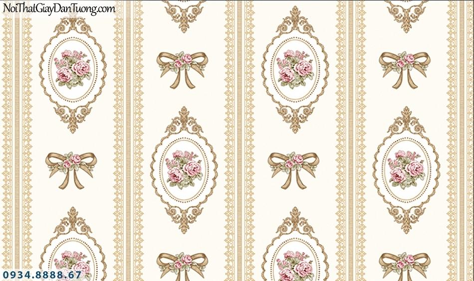 FLORIA | Giấy dán tường Floria 7702-4 | giấy dán tường cổ điển màu vàng, phong cách Châu Âu