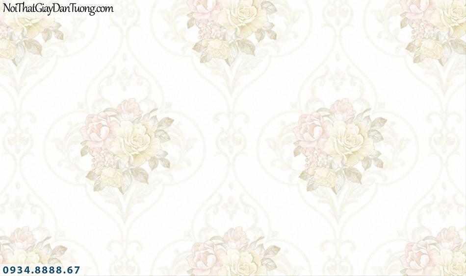 FLORIA | Giấy dán tường Floria 7704-1 | giấy dán tường hoa văn cổ điển màu trắng, những chùm hoa nhiều màu, bông hoa mờ nhạt
