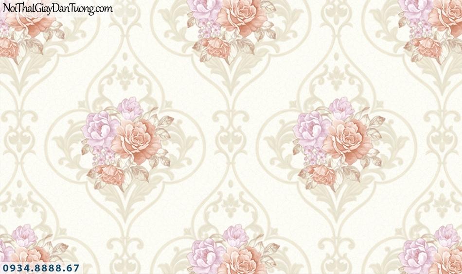FLORIA | Giấy dán tường Floria 7704-2 | giấy dán tường bông hoa màu hồng nhạt, màu vàng kem, hoa văn cổ điển style Châu Âu
