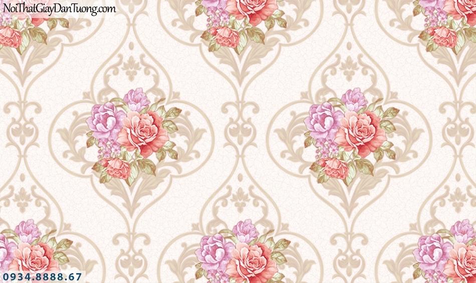 FLORIA | Giấy dán tường Floria 7704-3 | giấy dán tường bông hoa màu hồng, từng chùm hoa tươi đẹp, họa tiết cổ điển phong cách Châu Âu