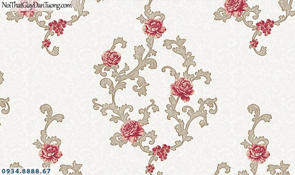 FLORIA | Giấy dán tường Floria 7706-1 | dây bông hoa màu hồng nền màu xám, hoa leo tường cổ điển
