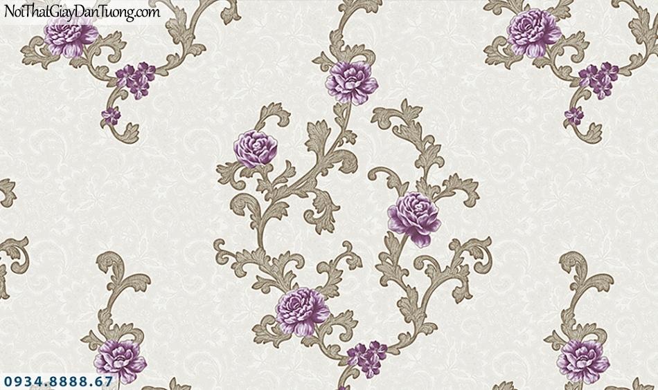 FLORIA | Giấy dán tường Floria 7706-2 | dây bông hoa leo tường màu tím, giấy dán tường cổ điển