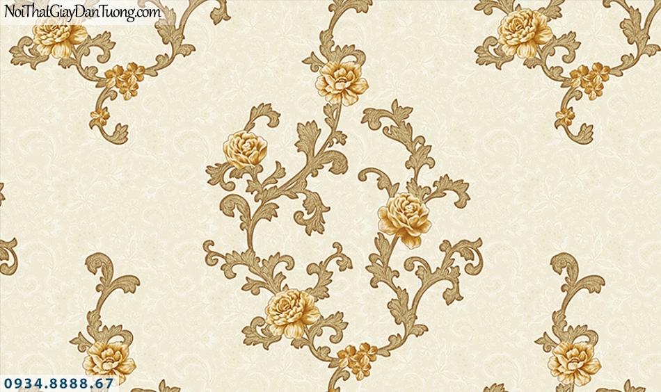 FLORIA | Giấy dán tường Floria 7706-3 | giấy dán tường hoa màu vàng, dây leo tường bông hoa vàng đẹp