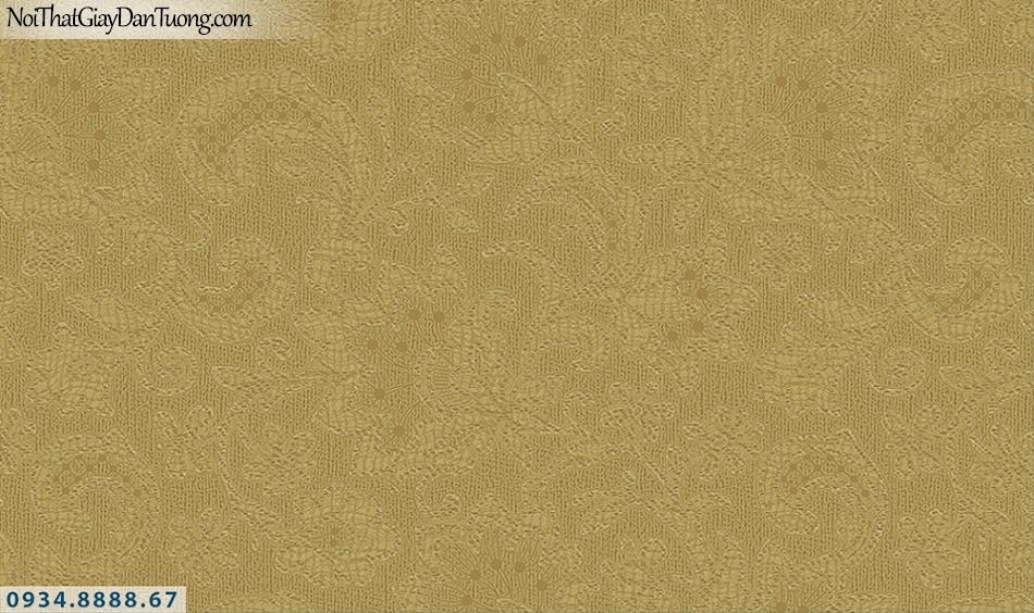 FLORIA | Giấy dán tường Floria 7707-4 | giấy dán tường màu vàng, hoa văn họa tiết hoa thêu trên vải