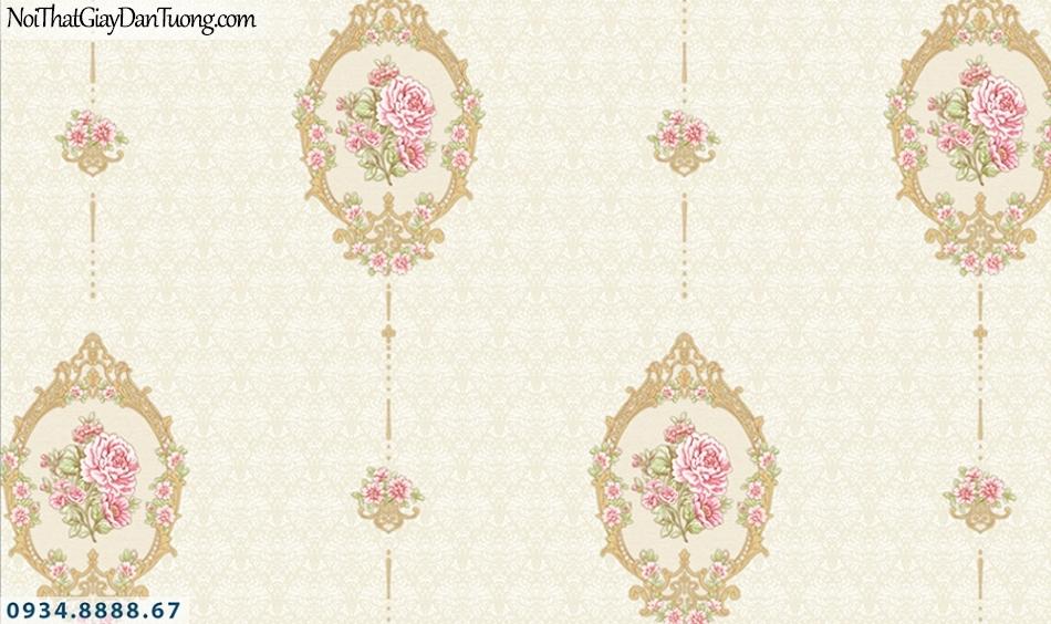 FLORIA | Giấy dán tường Floria 7708-1 | giấy dán tường vòng hoa màu vàng kem, những bông hoa nằm trong vòng tròn