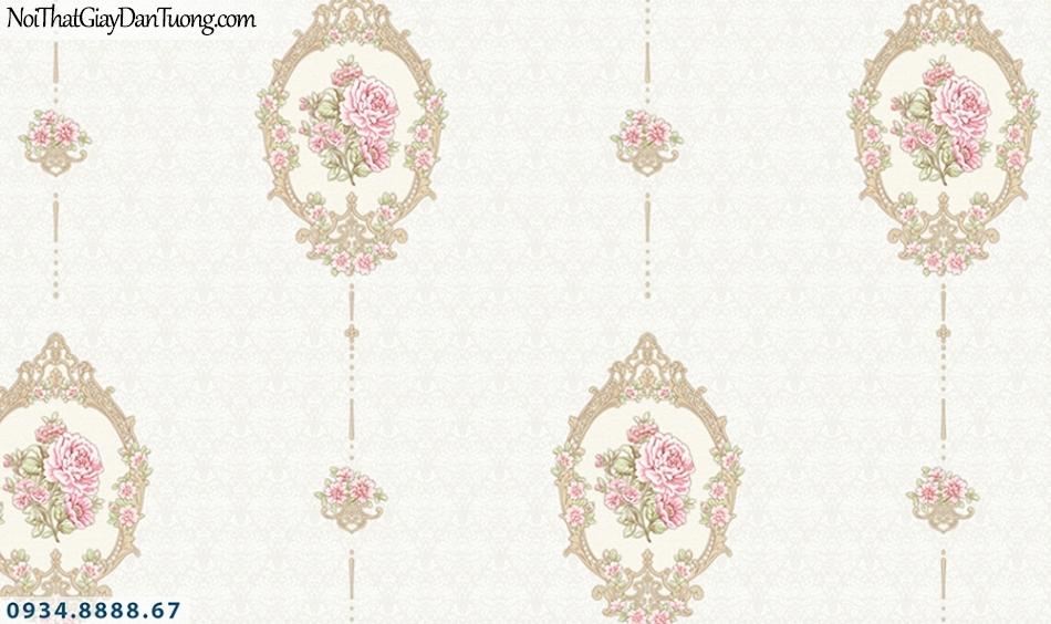FLORIA | Giấy dán tường Floria 7708-2 | giấy dán tường màu kem, hoa văn mang phong cách cổ điển Châu Âu