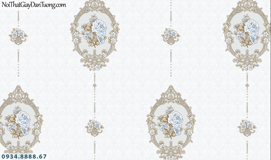 FLORIA | Giấy dán tường Floria 7708-3 | giấy dán tường màu kem, màu trắng xám, bông hoa văn phong cách cổ điển