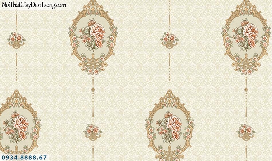 FLORIA | Giấy dán tường Floria 7708-4 | giấy dán tường màu vàng, bông hoa phong cách cổ điển Châu Âu