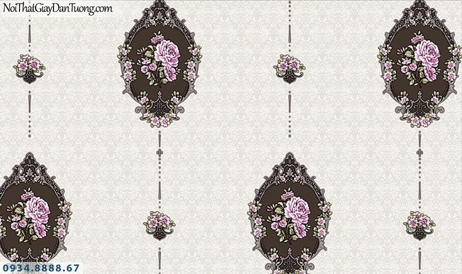 FLORIA | Giấy dán tường Floria 7708-5 | giấy dán tường hoa văn màu đen nền màu xám, họa tiết cổ điển