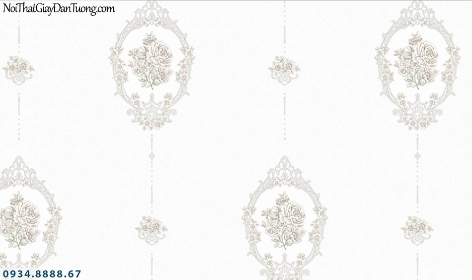 FLORIA | Giấy dán tường Floria 7708-6 | giấy dán tường hoa văn màu trắng, họa tiết cổ diển