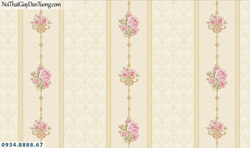 FLORIA | Giấy dán tường Floria 7709-1 | giấy dán tường kẻ sọc bông hoa, sọc dây hoa leo màu vàng, vàng kem